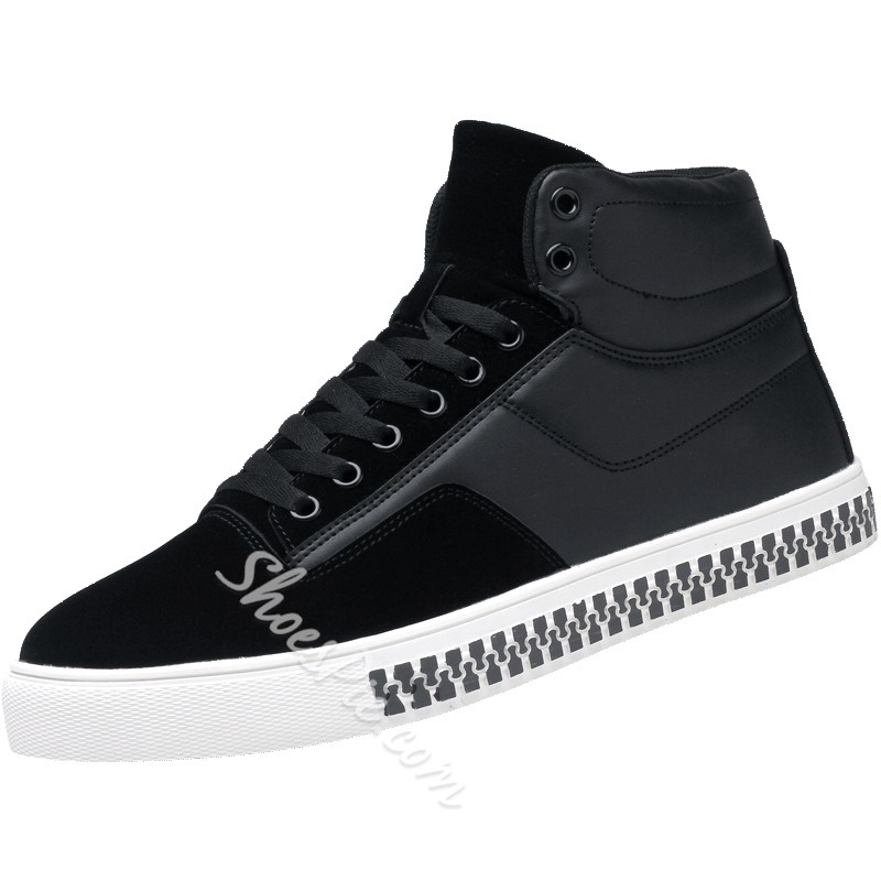 Casual Round Toe Lace-Up High-Cut Upper Men's Sneakers