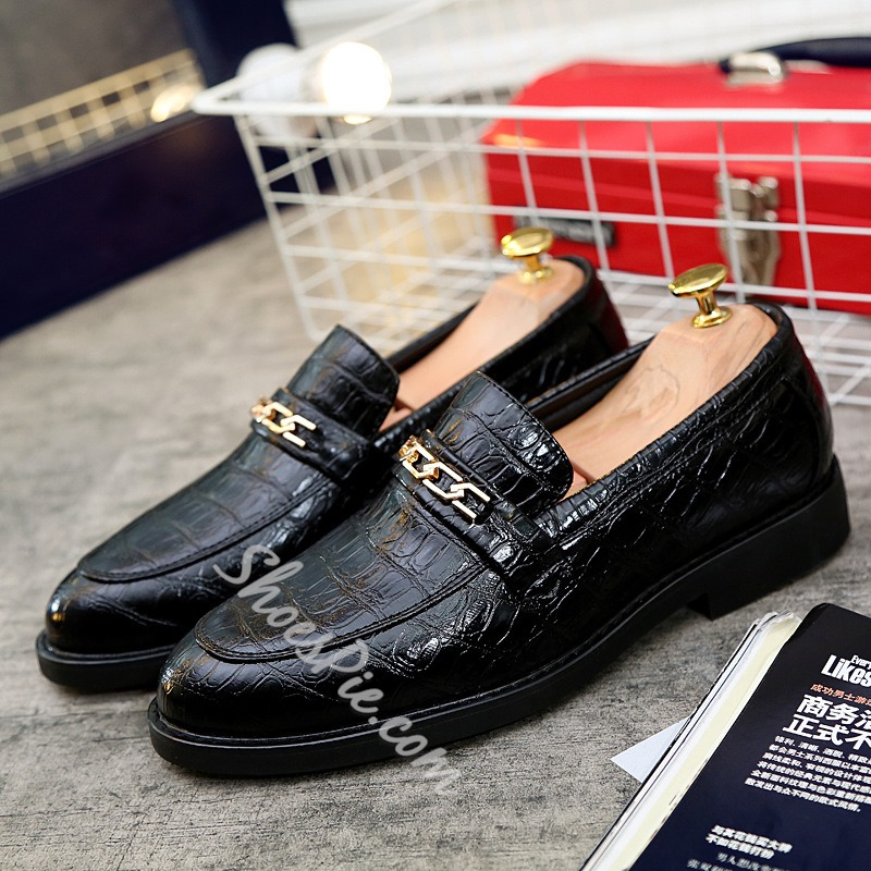 Round Toe Chain Sequin Men's Loafers