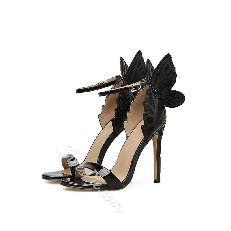 Line-Style Buckle Open Toe Stiletto Heel Sandals