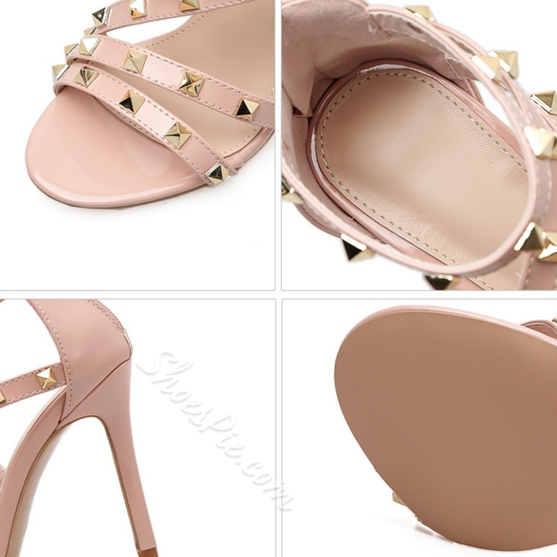 Rivet Open Toe Stiletto Heel Sandals