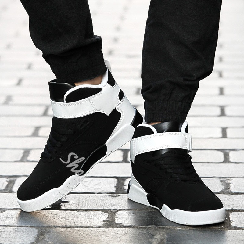 Casual Lace-Up Velcro High-Cut Upper Men's Sneakers