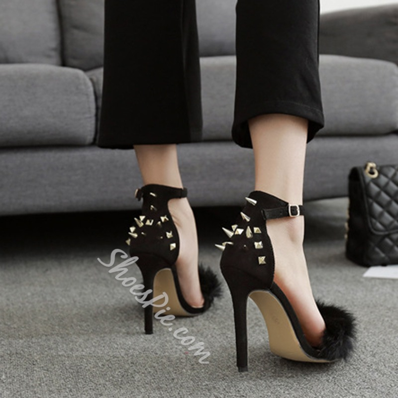Rivet Heel Covering Stiletto Heel Sandals