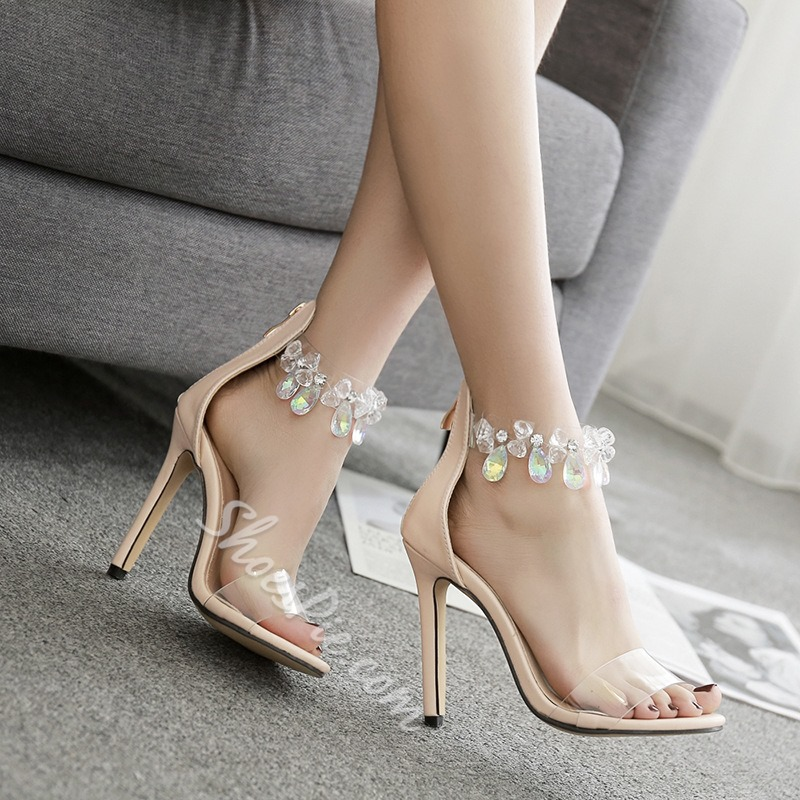 Jelly Rhinestone Open Toe Stiletto Heel Sandals