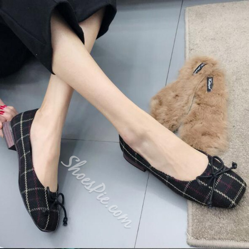 Plaid Bow Slip-On Women's Shoes