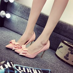 Bownot Solid Color Stiletto Heels