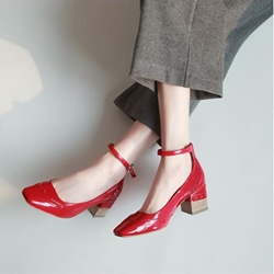 Line-Style Buckle Chunky Heel Women's Shoes