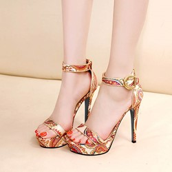 Floral Platform Stiletto Heel Sandals