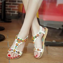 Open Toe Strappy Flat Sandals