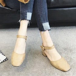 Solid Color Square Toe Buckle Heels