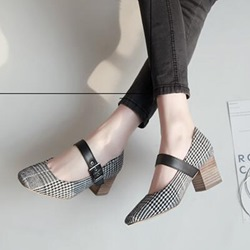 Buckle Chunky Heel Women's Shoes