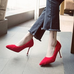 Solid Color Short Floss Stiletto Heel Pumps