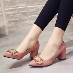 Solid Color Slip-On Chunky Heel Pumps