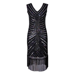 Tassel Sequins V-Neck Sleeveless Bodycon Dresses