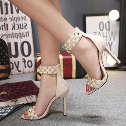 Rivet Beads Sexy Stiletto Heel Sandals