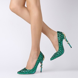 Shoespie Rhinestone Stiletto Heel Prom Pumps