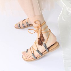 Color Block Lace-Up Flat Heel Sandals
