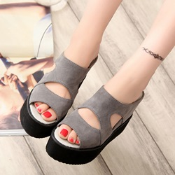 Gray Wedge Heel Slip-On Women's Sandals