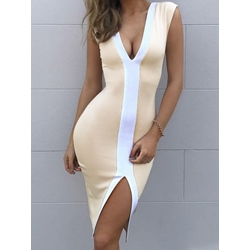 V-Neck Sleeveless Bodycon Dresses