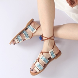 Lace-Up Pompon Flat Heel Sandals