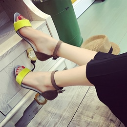 Color Block Line-Style Buckle Shaped Heels