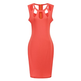 Round Neck Sleeveless Hollow Bodycon Dresses