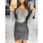 Gray V-Neck Long Sleeve Bodycon Dresses
