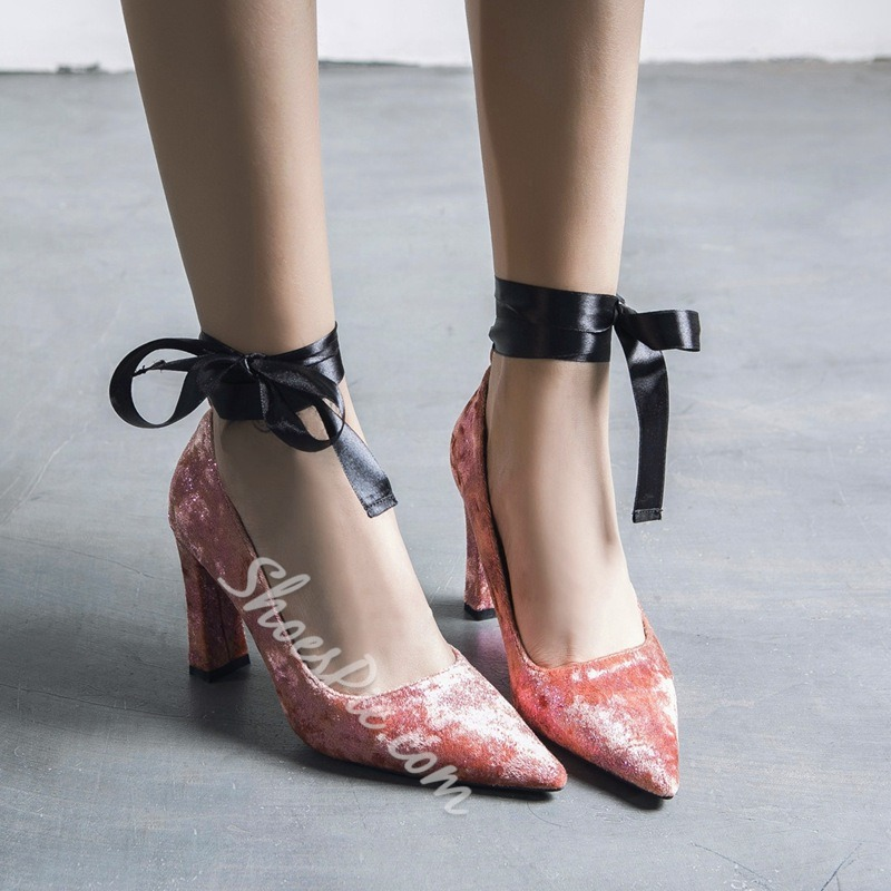 Lace-Up Solid Color Chunky Heels
