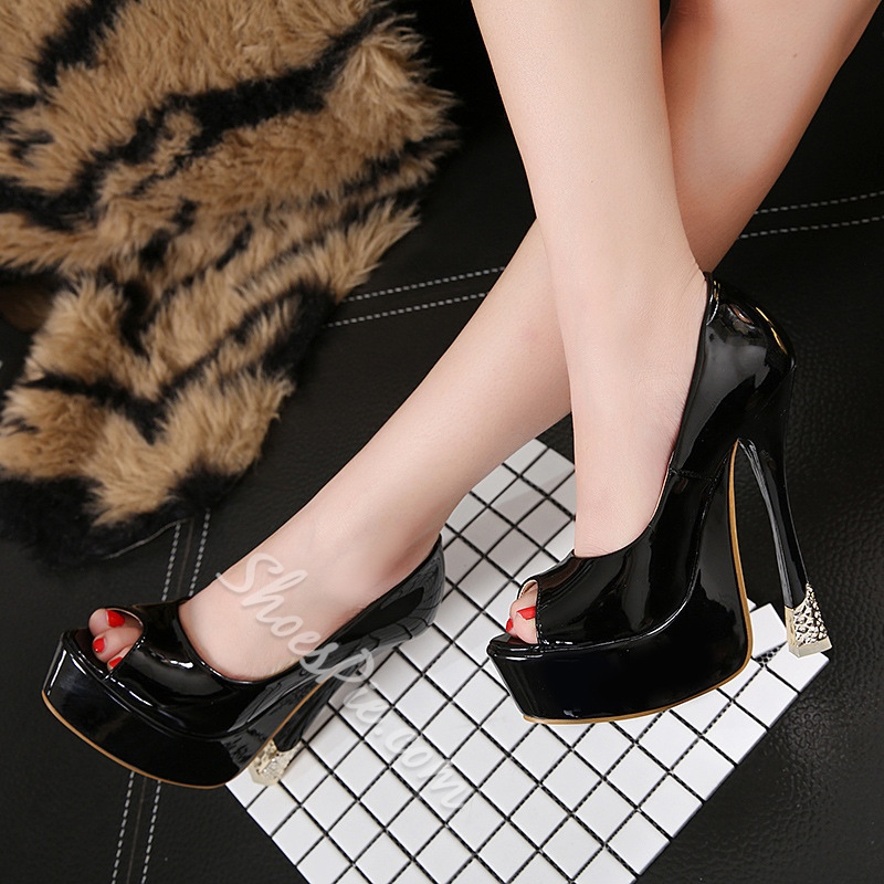Platform Peep-Toe High Stiletto Heels