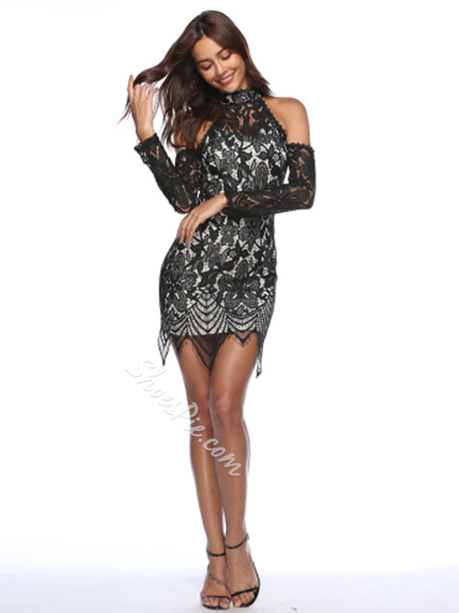 Stand Collar Lace Long Sleeve Bodycon Dresses