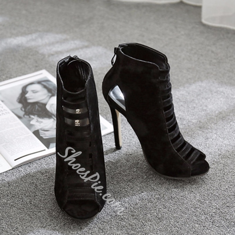 Peep Toe Stiletto Heel Hollow Ankle Boots