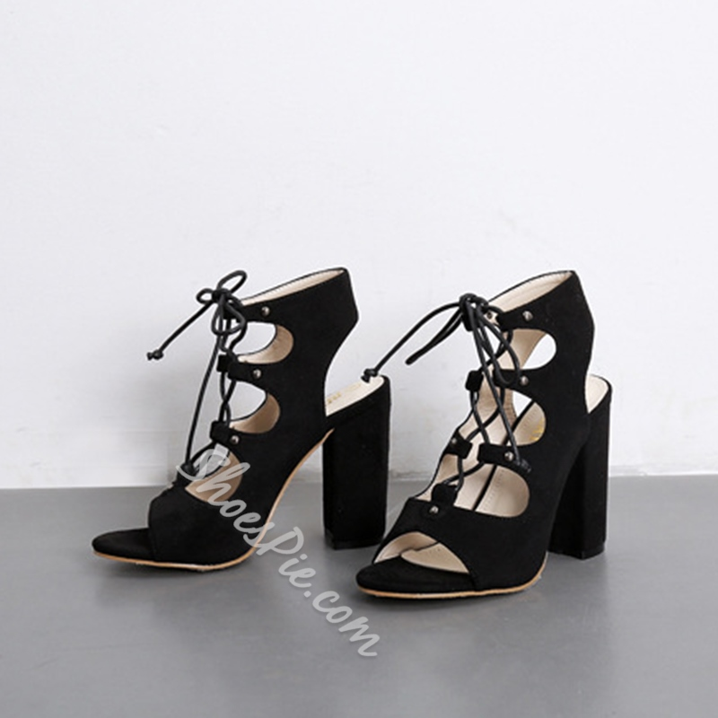 Lace-Up Strappy Open Toe Dress Sandals