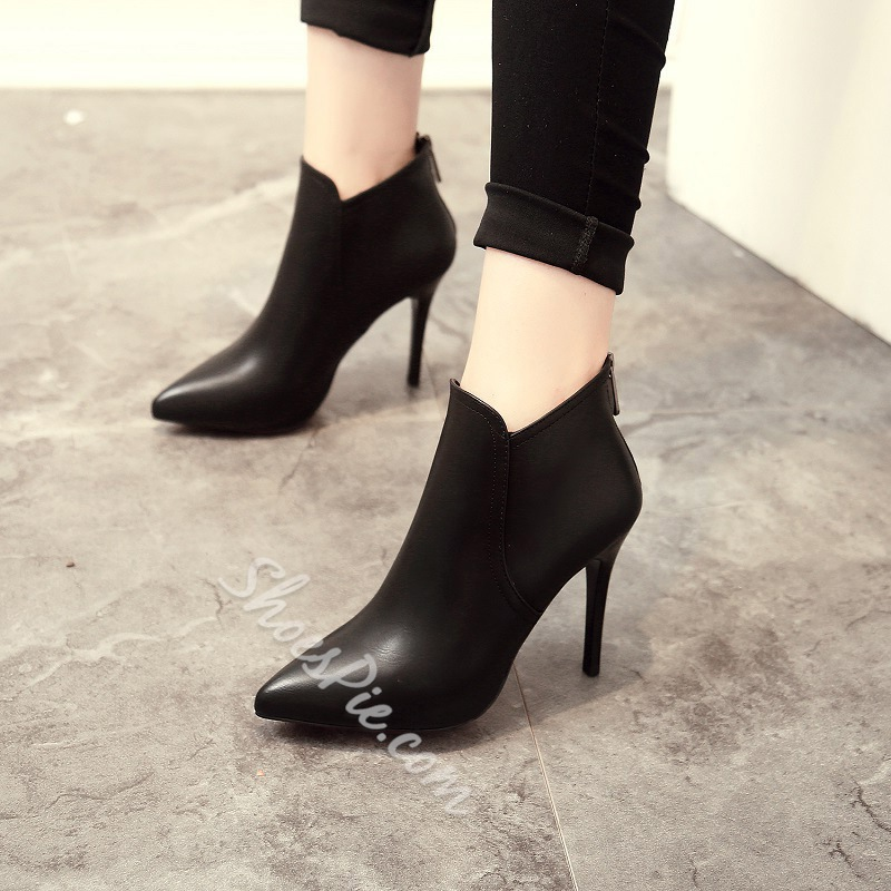 Fashion Black Stiletto Heel Women's Boots