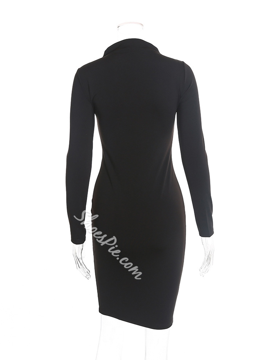 Above Knee Zipper Long Sleeve Bodycon Dresses