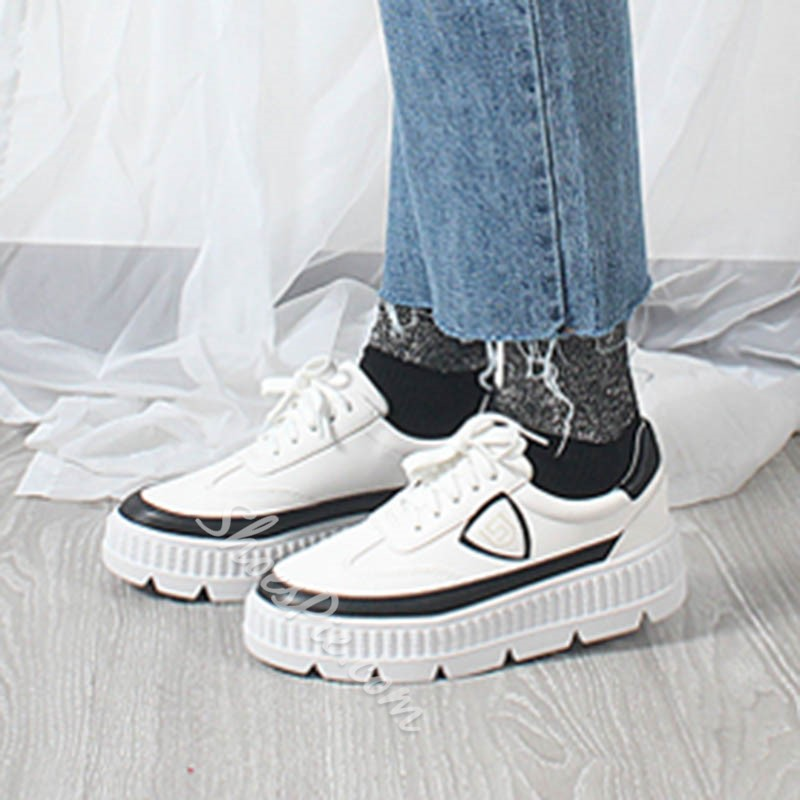 Color Block Lace-Up Women's Casual Shoes