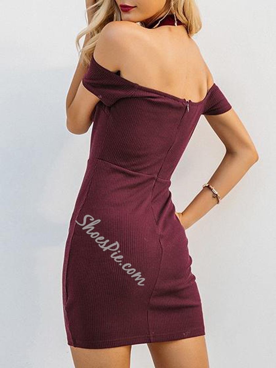 Sexy Stand Collar Off-The-Shoulder Bodycon Dresses