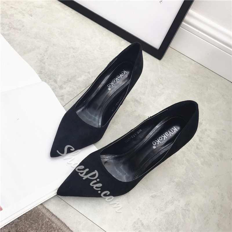 Solid Color Slip-On Stiletto Heels