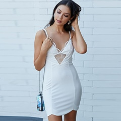 Wave Cut Hollow Backles Lace Spaghetti Strap Dresses