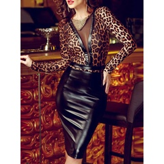 Leopard See-Through Bodycon Dresses