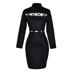 Hollow Turtleneck Bodycon Dresses