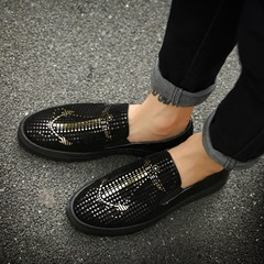 Round Toe Sequin Slip-On Men's Loafers