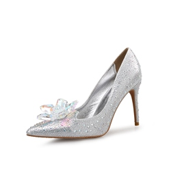 Silver Rhinestone Slip-On Stiletto Heels