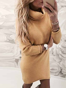 Turtleneck Above Knee Long Sleeve Pullover Women's Sweater Dress