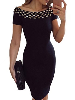 Sequins Slash Neck Bodycon Dresses