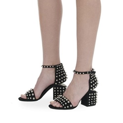 Black Beads Open Toe Dress Sandals
