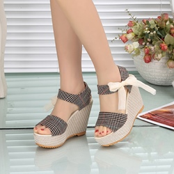 e48f87c07f00 Ankle Strap Open Toe Wedge Heel Sandals. Black Khaki