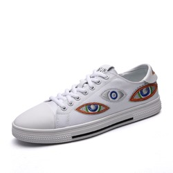 Lace-Up Round Toe Embroidery Men's Sneakers