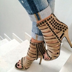 Rivet Open Toe Sandals Stiletto Heel Boots