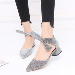Solid Color Block Heel Slip-On Heels