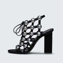 Black Beads Mesh Chunky Heel Sandals