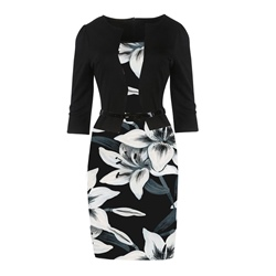 Floral Print Nine Points Sleeve Bodycon Dresses
